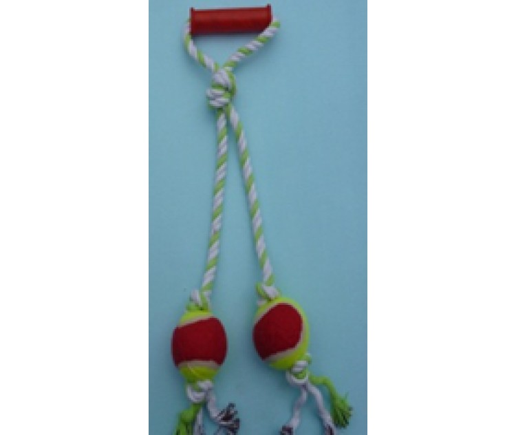Rope Pull Toy - Handle & 2 Balls